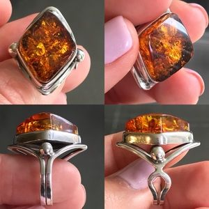 Jewelry - Unique Vintage Amber & Silver Ring
